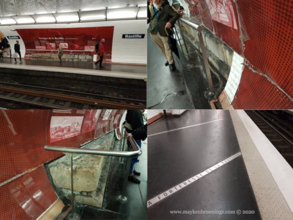 traces of the Bastille on the platform of métro 5